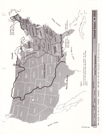 Map, United States, 1810 State Boundaries - Cardstock