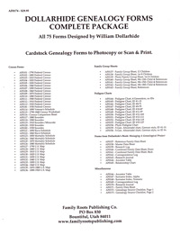 Dollarhide Genealogy Forms - Complete Package, All 75 Forms designed by William Dollarhide