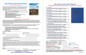 Product Description Flyer: Map Guide to Swiss Parish Registers - Order Form & Standing Order Form  - FREE PDF