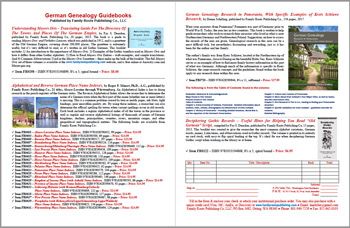 Production Description Flyer: Understanding Meyers Orts; Alphabetical and Reverse German Place Name Indexes; German Research in Pomerania; Deciphering Gothic Records - FREE PDF