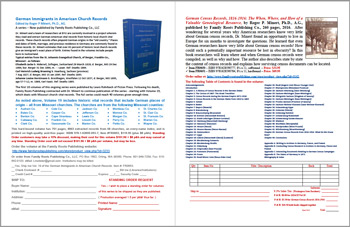 Product Description Flyer: German Census Records 1816-1916; German Immigrants in American Church Records