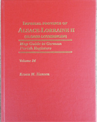 Map Guide to German Parish Registers – Imperial Province of Alsace-Lorraine II  (Elsass-Lothringen) – District of Unterelsass II - Hard Cover