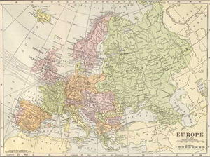 1911 Map of Europe - Pre WWI