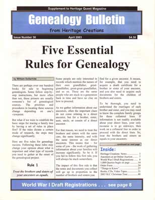 Five Essential Rules for Genealogy - Genealogy Bulletin 56 - April 2003
