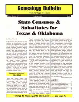 State Censuses & Substitutes for Texas & Oklahoma – Genealogy Bulletin 67 - February 2005