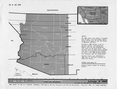 Map Guide to the U.S. Federal Censuses, Arizona 1860-1920 Map Packet