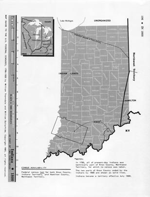 Map Guide to the U.S. Federal Censuses, Indiana 1800 -1920 Map Packet