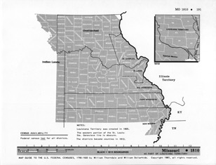 Map Guide to the U.S. Federal Censuses, Missouri 1810 -1920 Map Packet