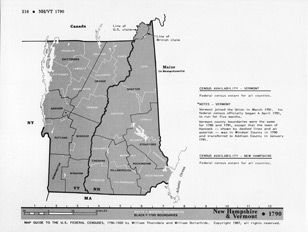Map Guide to the U.S. Federal Censuses, New Hampshire / Vermont 1790 -1920 Map Packet