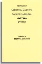 Marriages of Chatham County, North Carolina, 1772-1868