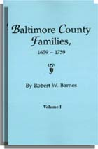 Baltimore County Families, 1659-1759, 1 Vol in 2