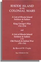 Rhode Island in the Colonial Wars, A List of Rhode Island Soldiers and Sailors in King George