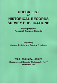 Check List of Historical Records Survey Publications, Bibliography of Research Projects Reports