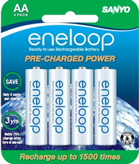 eneloop AA 4 Pack of Rechargeable Batteries