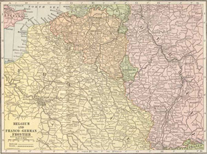 1915 Map of Belgium & the Franco German Empire
