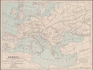 Map Showing the Barbarian Inroads on the Fall of the Roman Empire, movements shown down to A.D. 477