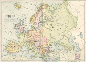 1903 Map of Europe at the Present Time by James Harvey Robinson