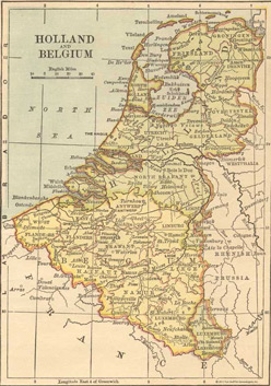 1882 Map of Holland & Belgium