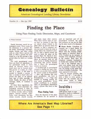 Finding the Place - Using Place Finding Tools: Directories, Maps, and Gazetteers - Genealogy Bulletin 26 - Mar-Apr 1995