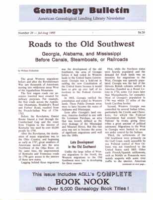 Roads to the Old Southwest - Georgia, Alabama, and Mississippi Before Canals, Steamboats, or Railroads - Genealogy Bulletin 28 - Jul-Aug 1995