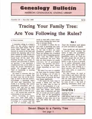Tracing Your Family Tree: Are You Following the Rules? - Genealogy Bulletin 30 - Nov-Dec 1995