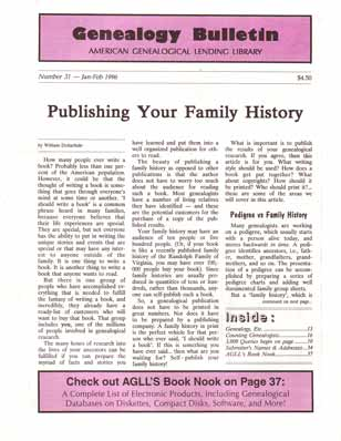 Publishing Your Family History - Genealogy Bulletin 31 - Jan-Feb 1996