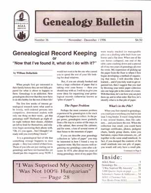 Genealogical Record Keeping or Now that I've found it, what do I do with it? - Genealogy Bulletin 36