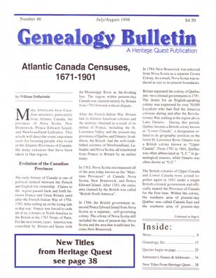 Atlantic Canada Censuses 1671-1901 - Genealogy Bulletin 46 - Jul-Aug 1998