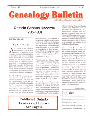 Ontario Census Records 1796-1901 - Genealogy Bulletin 47 - Sep-Oct 1998