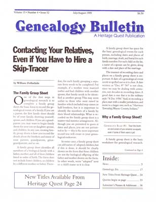 Contacting Your Relatives, Even if You Have to Hire a Skip-Tracer - Genealogy Bulletin 52 - Jul-Aug 1999