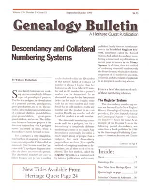 Descendancy and Collateral Numbering Systems - Genealogy Bulletin 53 - Sep-Oct 1999