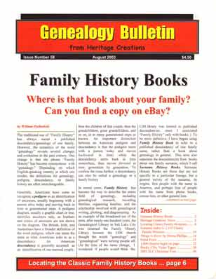Family History Books - Where is that book about your family? Can you find a copy on eBay?  Genealogy Bulletin 58 - August 2003