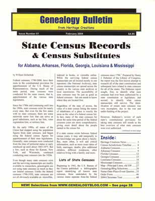 State Census Records & Census Substitutes for Alabama, Arkansas, Florida, Georgia, Louisiana & Mississippi - Genealogy Bulletin 61 - February 2004