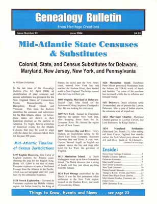 Mid-Atlantic State Censuses & Substitutes - Colonial, State, and Census Substitutes for Delaware, Maryland, New Jersey, New York, and Pennsylvania - Genealogy Bulletin 63 - June 2004