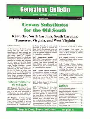 Census Substitutes for the Old South - Kentucky, North Carolina, South Carolina, Tennessee, Virginia, and West Virginia - Genealogy Bulletin 64 - August 2004