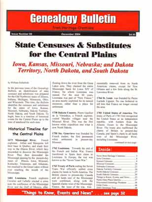 State Censuses & Substitutes for the Central Plains - Iowa, Kansas, Missouri, Nebraska; and Dakota Territory, North Dakota, and South Dakota – Genealogy Bulletin 66 - December 2004