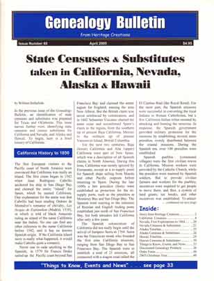 State Censuses & Substitutes taken in California, Nevada, Alaska & Hawaii - Genealogy Bulletin 68 - April 2005