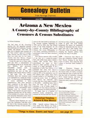 Arizona & New Mexico, A County by County Bibliography of Censuses & Census Substitutes - Genealogy Bulletin 69 - June 2005
