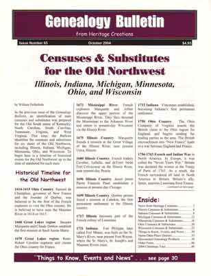 Censuses & Substitutes for the Old Northwest - Illinois, Indiana, Michigan, Minnesota, Ohio, and Wisconsin - Genealogy Bulletin 65 - October 2004